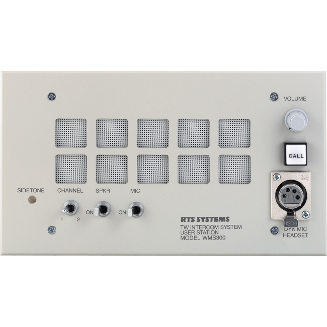 RTS Dual-Channel Wall Mount User Station with Speaker WMS300L A5F WMS-300L