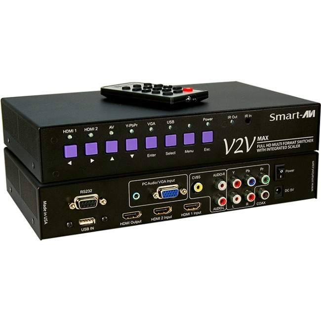 SmartAVI Full HD Multi Format, 6-Port Switcher with Integrated Scaler V2V-MAX-S