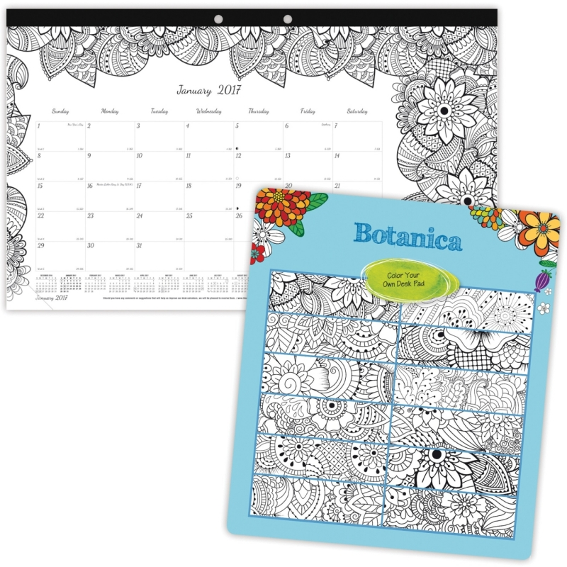 Blueline Botanica Design Monthly Desk Pad C2917001 REDC2917001