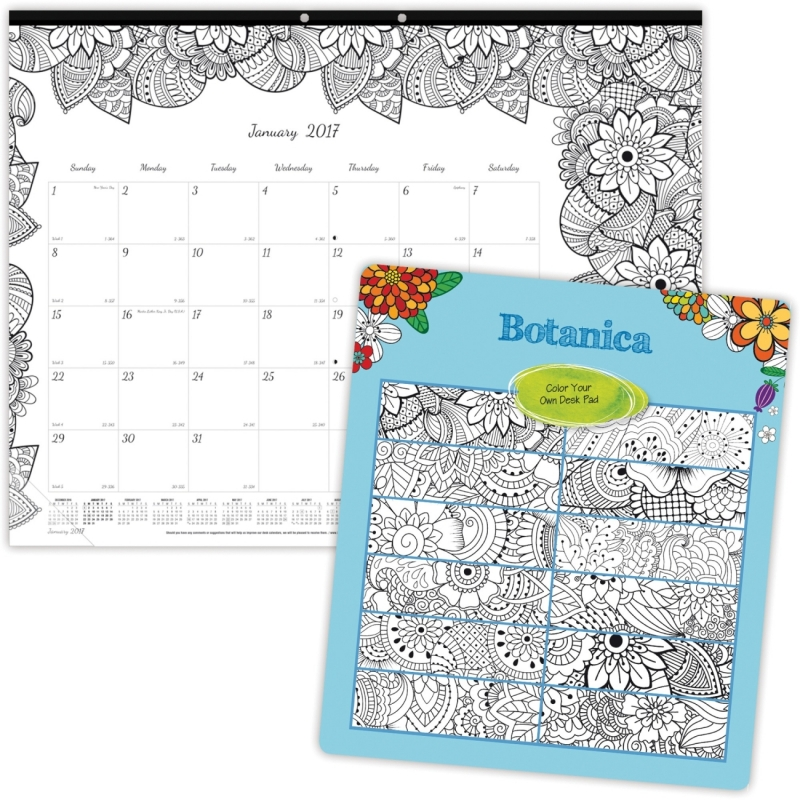 Blueline Botanica Design Monthly Desk Pad C2917311 REDC2917311