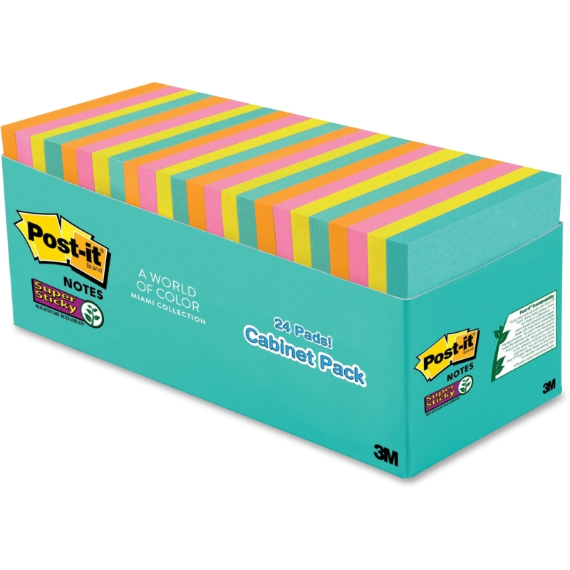 Post-it Miami Super Sticky Notes Cabinet Pack 65424SSMIACP MMM65424SSMIACP