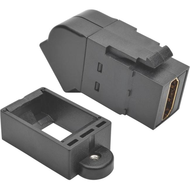 Tripp Lite HDMI All-in-One Keystone/Panel Mount Angled Coupler (F/F), Black P164-000-KPA-BK