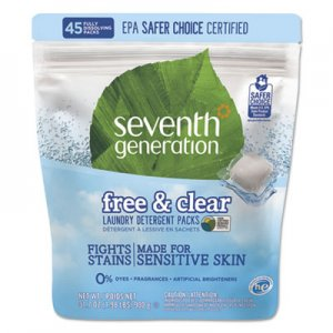 Seventh Generation Natural Laundry Detergent Packs, Powder, Unscented, 45 Packets/Pack SEV22977 22977
