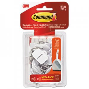 Command General Purpose Hooks, 0.5lb Capacity, Wire, White, 28 Hooks, 32 Strips/Pack MMM17067MPES 17067-MPES