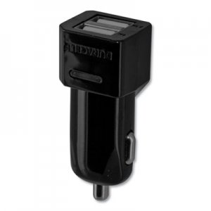 Duracell Hi-Performance Car Charger for USB Devices, Two Ports, LED Light ECAPRO168 PRO168