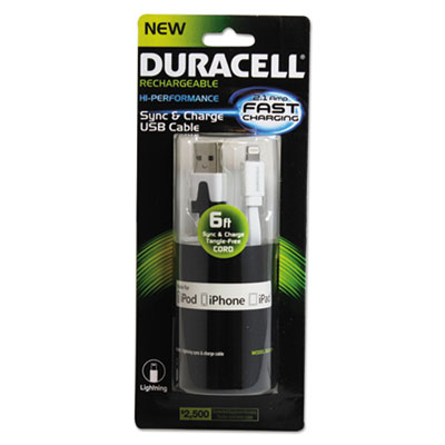 Duracell Sync And Charge Cable, Apple Lightning, 6 ft, White ECADU1311 DU1311