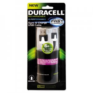 Duracell Hi-Performance Sync And Charge Cable, Micro USB, 6ft ECAPRO428 PRO428