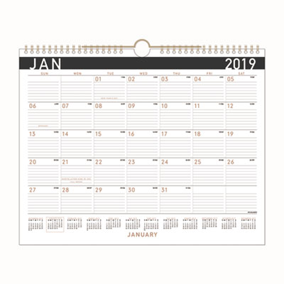 At-A-Glance Contemporary Medium Monthly Wall Calendar, 14 7/8 x 11 7/8, 2019 AAGPM8X28 PM8X28