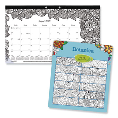 Blueline Academic DoodlePlan Desk Pad Calendar w/Coloring Pages,17 3/4 x 10 7/8,2019-2020 REDCA2917001 CA2917001
