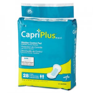 "Medline Capri Plus Bladder Control Pads, Ultra Plus, 8"" x 17"", 28/Pack, 6/Carton MIIBCPE03CT BCPE03"