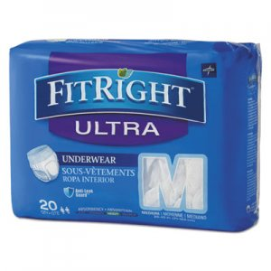 "Medline FitRight Ultra Protective Underwear, Medium, 28"" to 40"" Waist, 20/Pack, 4 Pack/Carton MIIFIT23005ACT FIT23005A"