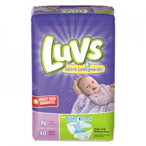 Luvs Diapers with Leakguard, Newborn: 4 lbs to 10 lbs, 40/Pack, 4 Packs/Carton PGC85921CT 85921