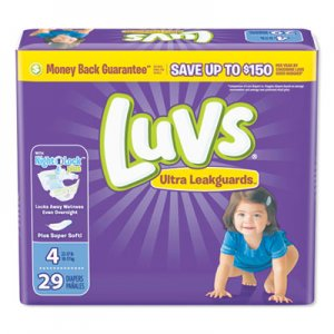 Luvs Diapers, Size 4: 22 lbs to 37 lbs, 29/Pack, 4 Pack/Carton PGC87073 87073