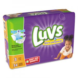 Luvs Diapers, Size 3: 16 lbs to 28 lbs, 34/Pack, 4 Pack/Carton PGC85924 85924