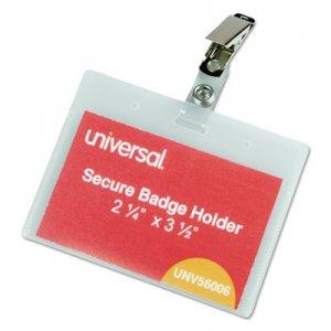 Genpak Deluxe Clear Badge Holder w/Garment-Safe Clips, 2.25 x 3.5, White Insert, 50/Box UNV56006