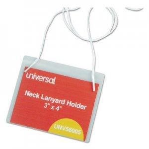 Genpak Clear Badge Holders w/Neck Lanyards, 3 x 4, White Inserts, 100/Box UNV56005
