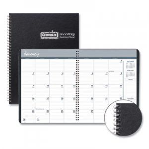 House of Doolittle One-Year Monthly Hard Cover Planner, 11 x 8 1/2, Black, 2020 HOD26292 262-92