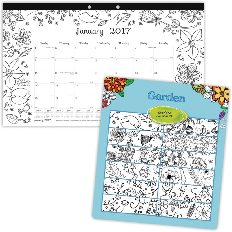 Blueline Garden Design Monthly Desk Pad C2917003 REDC2917003