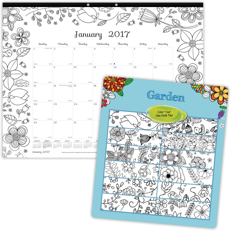 Blueline Garden Design Monthly Desk Pad C2917313 REDC2917313