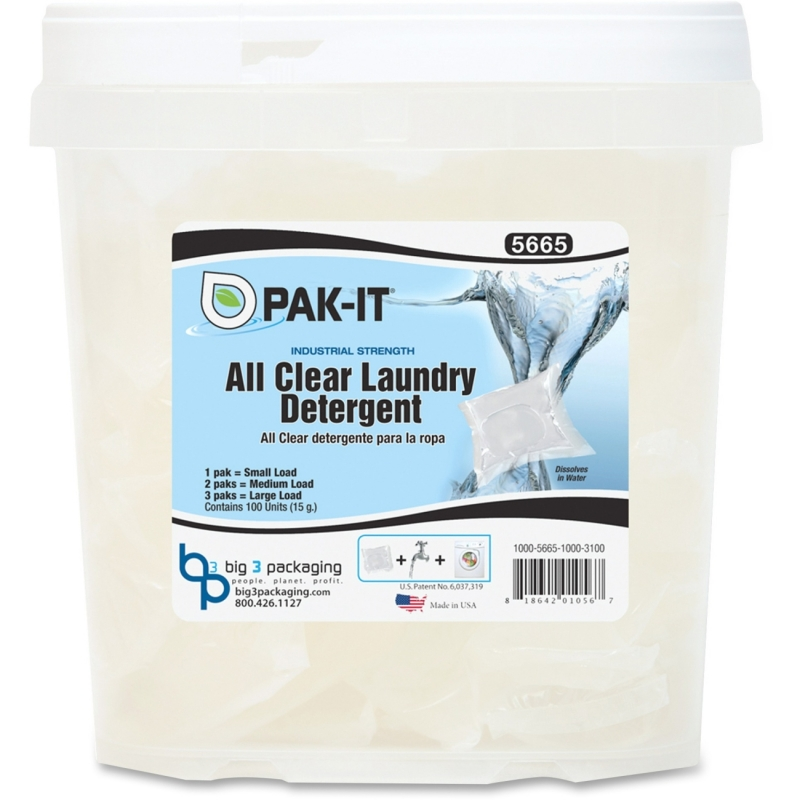 Big 3 Packaging PAK-IT All Clear Laundry Detergent Packs 56651004 BIG56651004