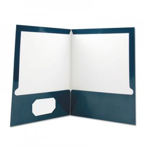 Genpak Laminated Two-Pocket Folder, Cardboard Paper, Navy, 11 x 8 1/2, 25/Pack UNV56418