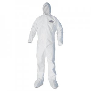 KleenGuard A30 Elastic Back and Cuff Hooded/Boots Coveralls, White, Large, 25/Carton KCC46123 46123