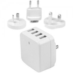 StarTech.com 4-Port USB Wall Charger - International Travel - 34W/6.8A - White USB4PACWH