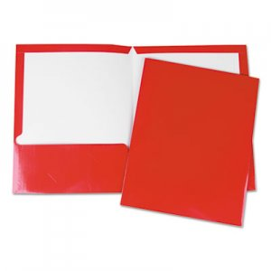 Genpak Laminated Two-Pocket Folder, Cardboard Paper, Red, 11 x 8 1/2, 25/Pack UNV56420