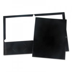 Genpak Laminated Two-Pocket Folder, Cardboard Paper, Black, 11 x 8 1/2, 25/Pack UNV56416