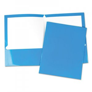 Genpak Laminated Two-Pocket Folder, Cardboard Paper, Blue, 11 x 8 1/2, 25/Pack UNV56419