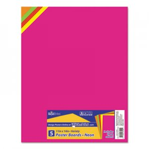 Royal Brites Premium Coated Poster Board, 11 x 14, Assorted, 5/Pack GEO23500 23500