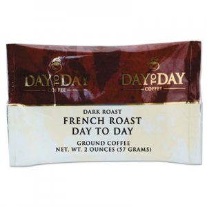 Day to Day Coffee 100% Pure Coffee, French Roast, 2 oz Pack, 42/Carton PCO23005