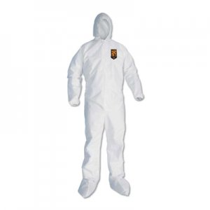 KleenGuard A30 Elastic Back and Cuff Hooded/Boots Coveralls, White, 3XL,21/Ct KCC46126