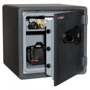 FireKing One Hour Fire and Water Safe w/Biometric Fingerprint Lock, 1.23 cu. ft, Graphite FIRKY13131GRFL KY1313-1GRFL