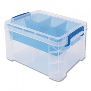 Advantus Super Stacker Divided Storage Box, Clear w/Blue Tray/Handles, 7 1/2 x 10.12x6.5 AVT37375 37375