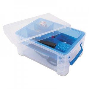 Advantus Super Stacker Divided Storage Box, Clear w/Blue Tray/Handles, 10.3 x 14.25x 6.5 AVT37371 37371