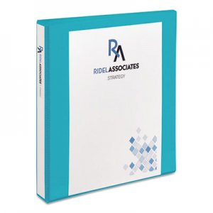 "Avery Durable View Binder with DuraHinge and Slant Rings, 3 Rings, 1"" Capacity, 11 x 8.5, Aqua AVE17295 17295"
