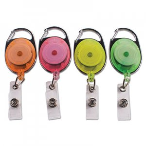 "Advantus Carabiner-Style Retractable ID Card Reel, 30"" Extension, Assorted Neon, 20/Pack AVT91119 91119"