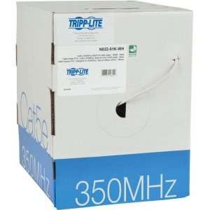 Tripp Lite Cat5e 350 MHz Bulk Solid-Core PVC Cable, White, 1000 ft N022-01K-WH