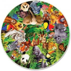 A Broader View Wild Animals 500-pc Round Puzzle 373 ABW373