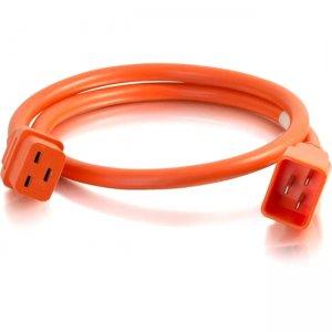 C2G 10ft 12AWG Power Cord (IEC320C20 to IEC320C19) - Orange 17752