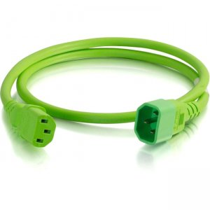 C2G 4ft 14AWG Power Cord (IEC320C14 to IEC320C13) - Green 17543