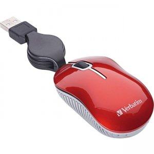 Verbatim Mini Travel Optical Mouse, Commuter Series - Red 98619