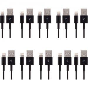 4XEM 3FT 8 Pin Lightning To USB Cable For iPhone/iPod/iPad (Black) 10 Pack 4XLIGHTNINGBK10PK