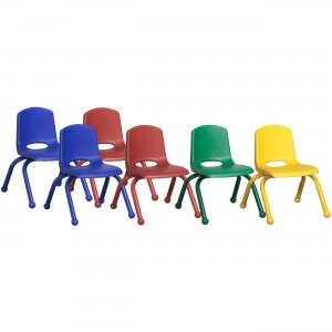"""ECR4KIDS 10"""" Stack Chair with Matching Legs, 6 Piece - AS ELR-15140-AS ECR15140AS"""