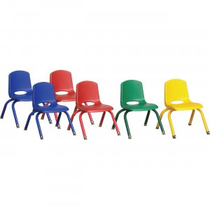"""ECR4KIDS 10"""" Stack Chair with Matching Legs, 6 Piece - ASG ELR-15140-ASG ECR15140ASG"""