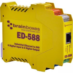 Brainboxes Ethernet to 8 Digital Inputs and 8 Digital Outputs + RS485 Gateway ED-588-X50M ED-588