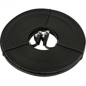 Monoprice Cat5e 30AWG UTP Flat Ethernet Network Patch Cable, 75ft Black 9556