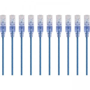 Monoprice 10-Pack, SlimRun Cat6A Ethernet Network Patch Cable, 5ft Blue 15158