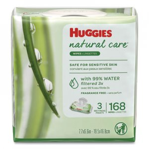 Huggies Natural Care Baby Wipes, Unscented, White, 56/Pack, 3-Pack/Box, 3 Box/Carton KCC43403 43403